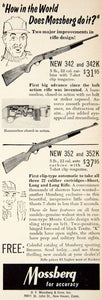 1957 Ad Mossberg Model 342K 352K Carbine Rifle Hunting Gun Firearm PSC3