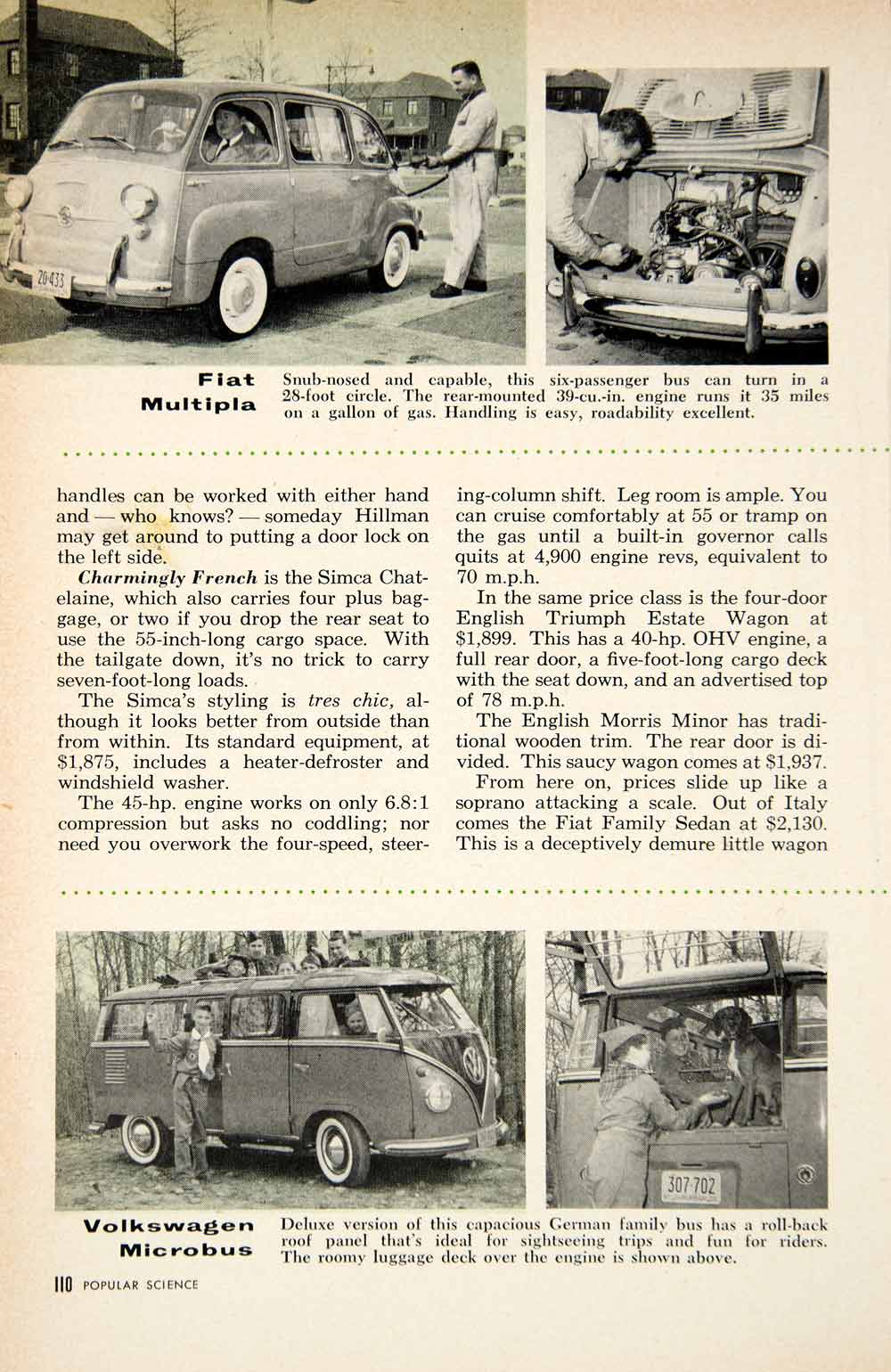 1958 Article Hillman Husky Simca Chatelaine Fiat Station Wagon Car PSC3