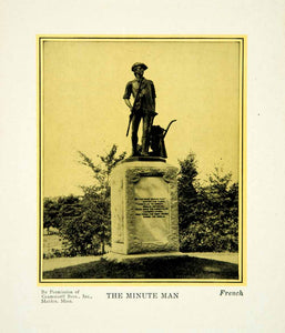 1927 Print Daniel Chester French Art Minute Man Sculpture Revolutionary War PSG1
