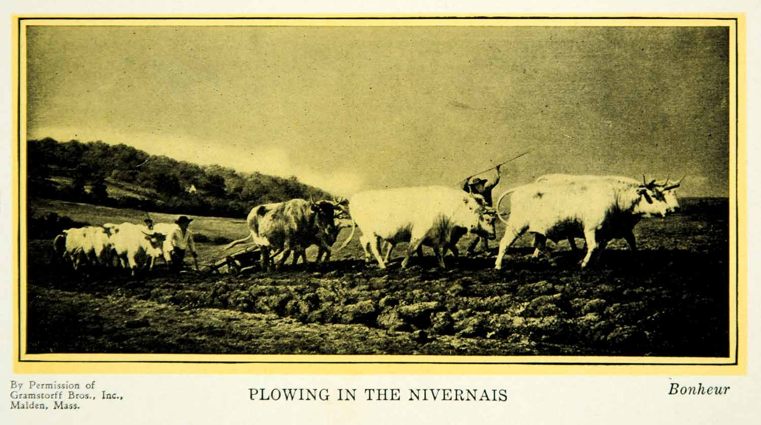 1927 Print Rosa Bonheur Realism Art Plowing Nevers First Dressing Cattle PSG1