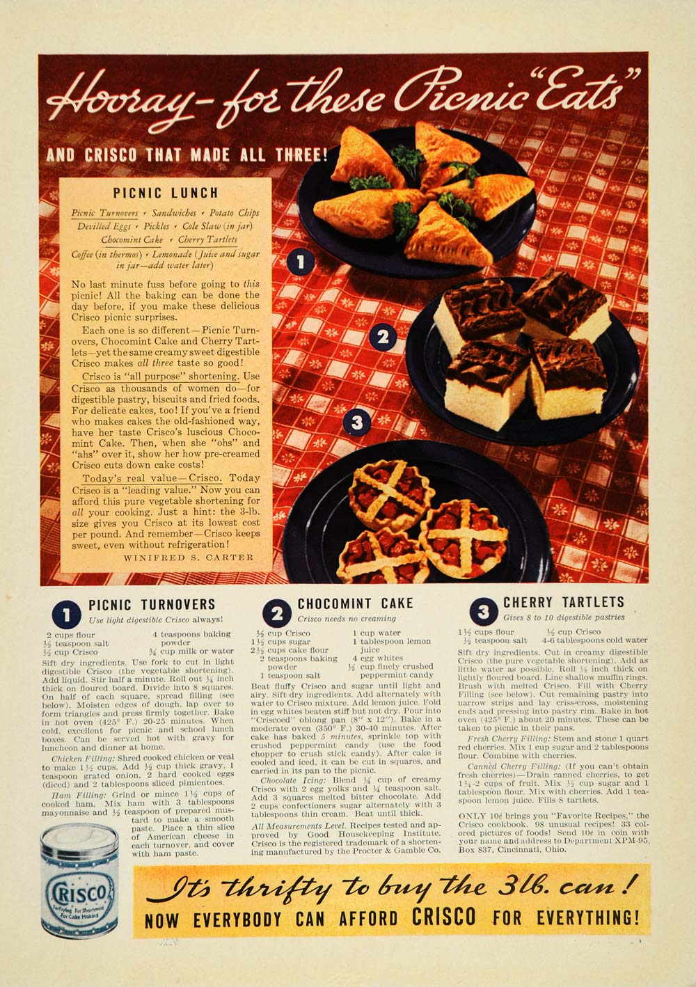 1935 Ad Crisco Shortening Winifred S. Carter Recipes - ORIGINAL ADVERTISING PTS1