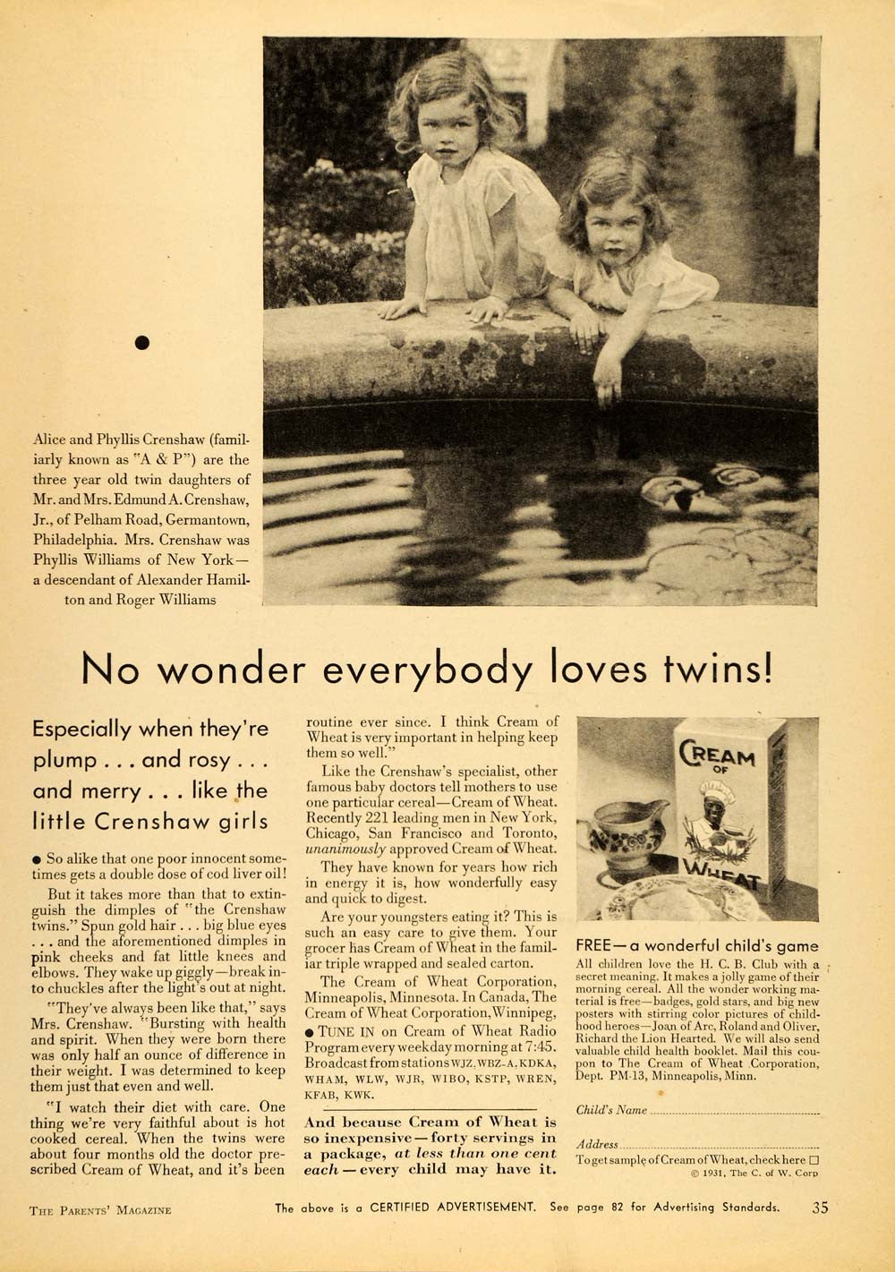 1931 Ad Cream of Wheat Alice Phyllis Crenshaw Twins - ORIGINAL ADVERTISING PTS1