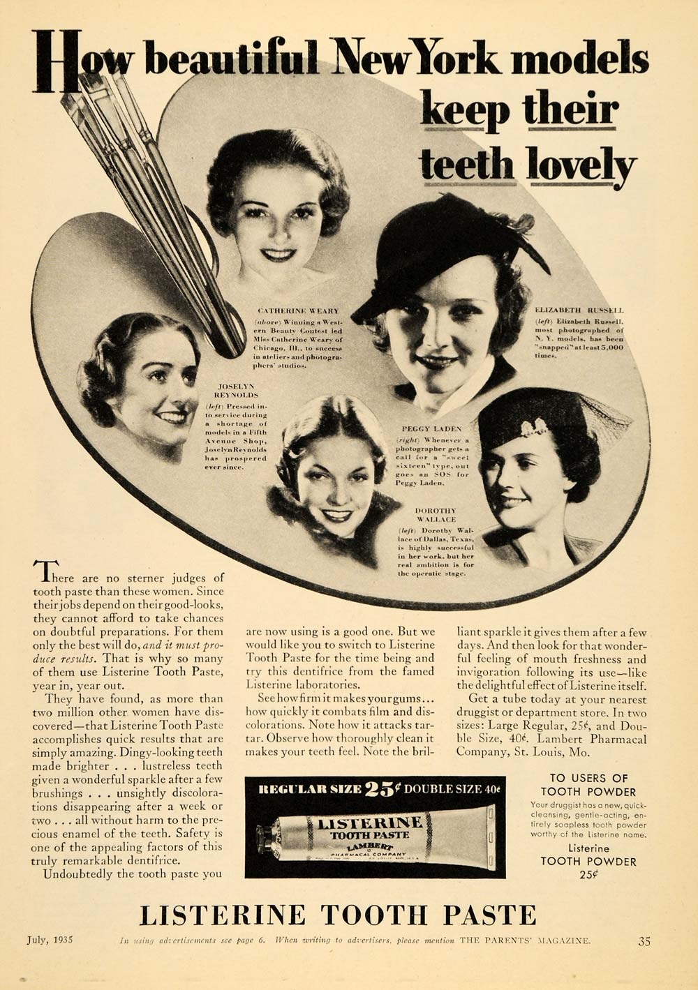 1935 Ad Listerine Toothpaste NY Model Elizabeth Russell - ORIGINAL PTS1