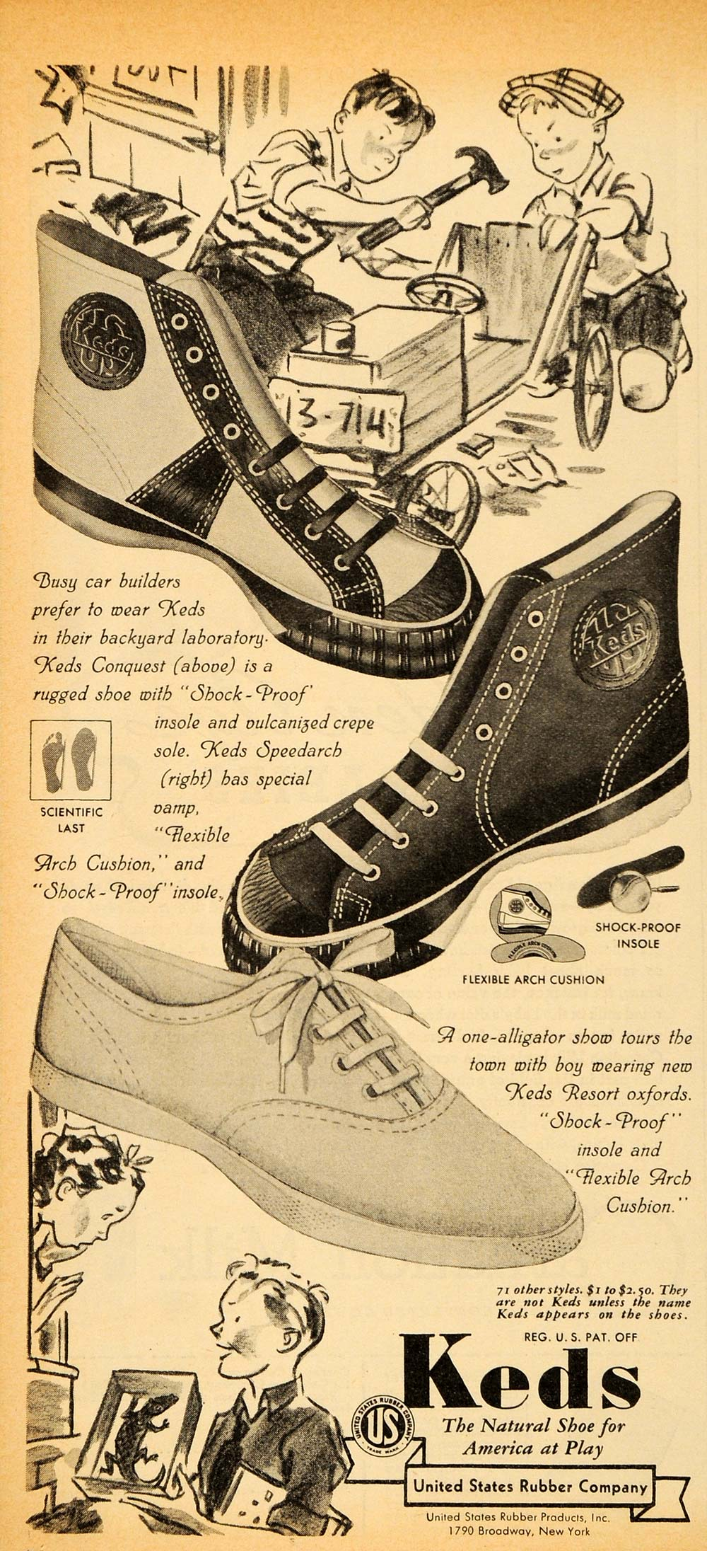 1937 Vintage Ad Keds Shoes Sneakers Conquest Speedarch - ORIGINAL PTS1