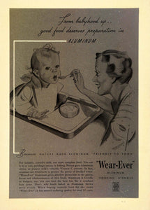 1936 Vintage Ad Wearever Aluminum Cookware Baby Mother - ORIGINAL PTS1