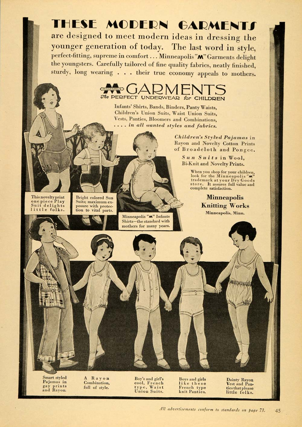 1929 Vintage Ad Children Infant Clothing Pajama Sunsuit - ORIGINAL PTS1