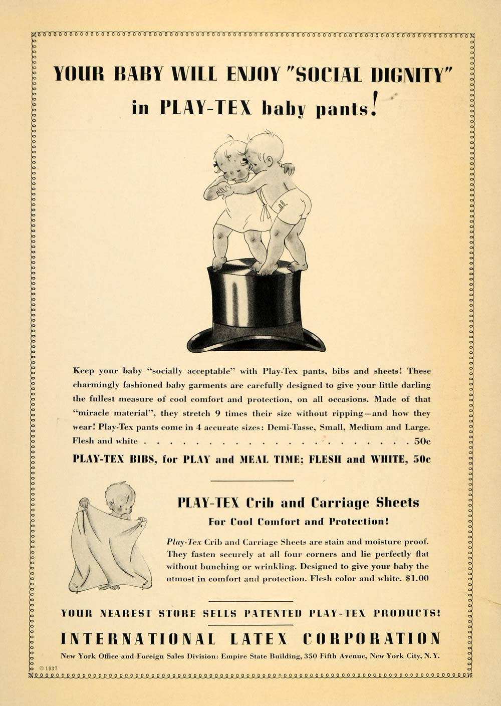 1937 Vintage Ad Play-Tex Latex Baby Pants Crib Sheets - ORIGINAL PTS1