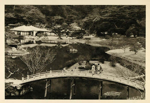 1935 Ritsurin Garden Takamatsu Japan Japanese Bridge - ORIGINAL PTW1
