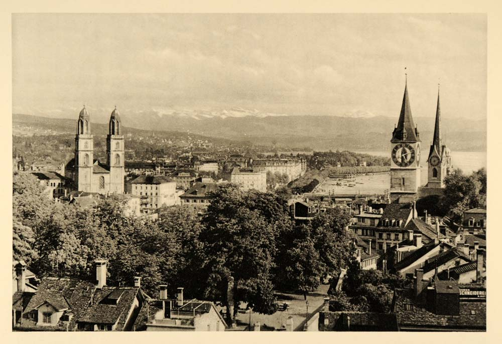 1935 Zurich Switzerland Grossmunster Tower Photogravure - ORIGINAL PTW2
