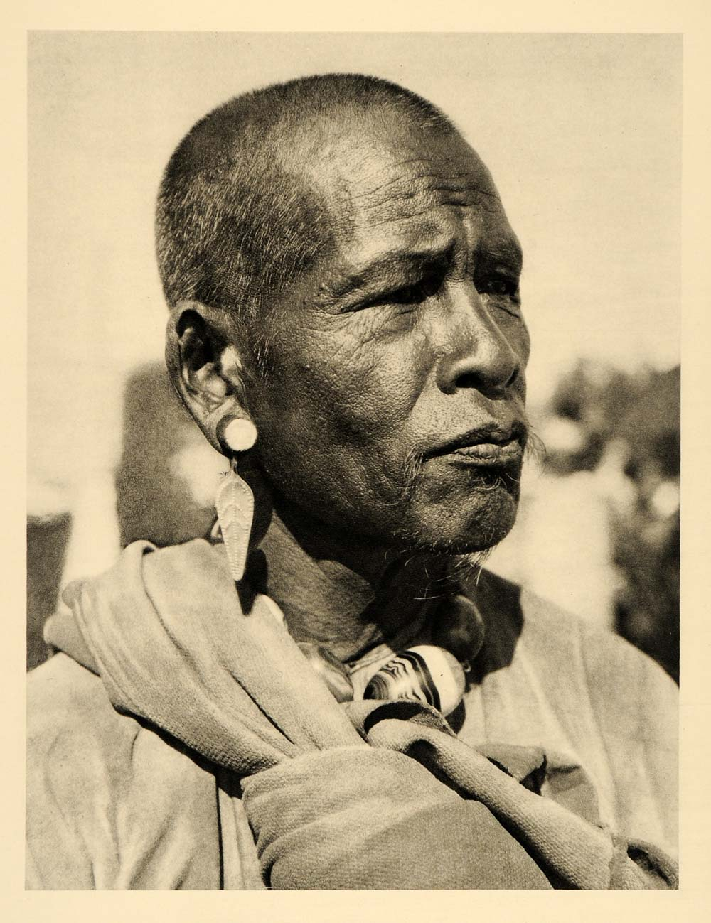 1935 Chieftain Portrait Man Burma Myanmar Hurlimann - ORIGINAL PHOTOGRAVURE PTW2