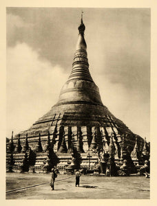 1935 Shwedagon Golden Pagoda Yangon Rangoon Myanmar - ORIGINAL PHOTOGRAVURE PTW2