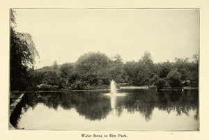 1898 Print Massachusetts Elm Park Historic Site Land Water Scene Worcester PV1