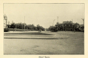 1898 Print Adams Square Worcester Massachusetts Rural Scene Road Trolley Car PV1