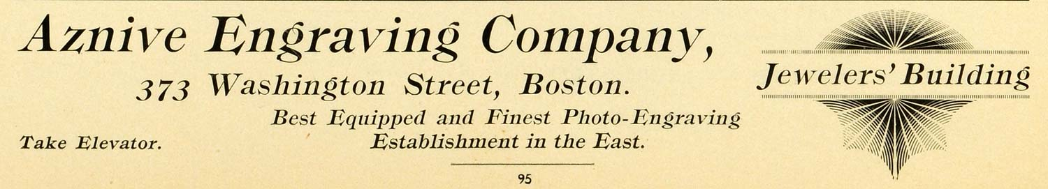 1898 Ad Aznive Engraving Co Jewerlers Washington Street Photo Services PV1