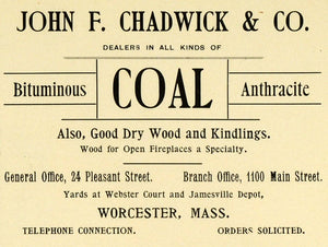 1898 Ad John Chadwick Bituminous Coal Anthracite Dry Wood Pleasant St PV1