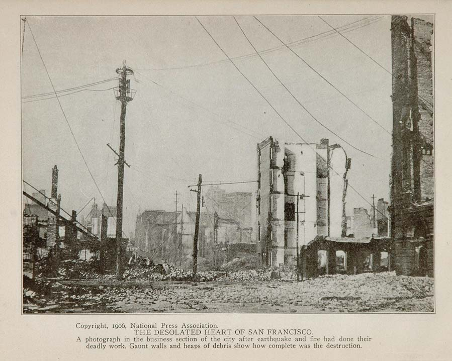 1906 San Francisco Earthquake Business District Print ORIGINAL HISTORIC QUAKE