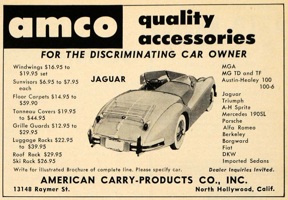 1959 Ad American Carry-Products AMCO Car Accessories - ORIGINAL ADVERTISING RAT1