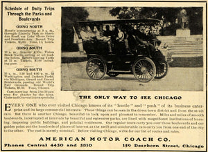 1904 Ad Chicago Tours Antique Bus American Motor Coach - ORIGINAL RB1