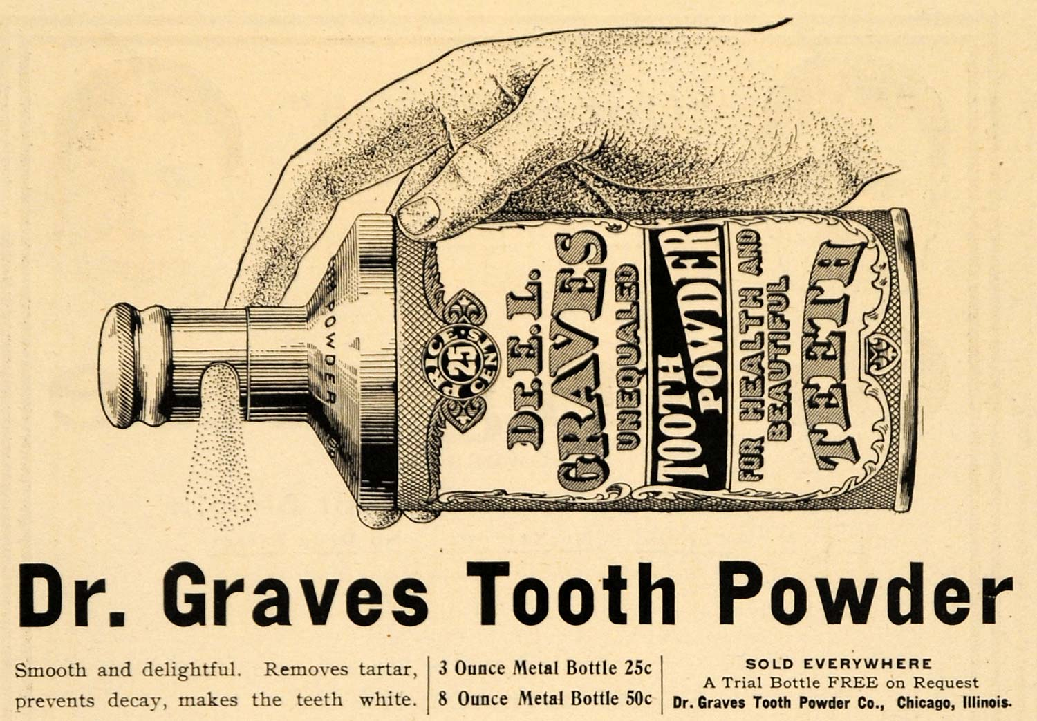 1904 Ad Dr E L Graves Tooth Powder Company Tartar Teeth - ORIGINAL RB1