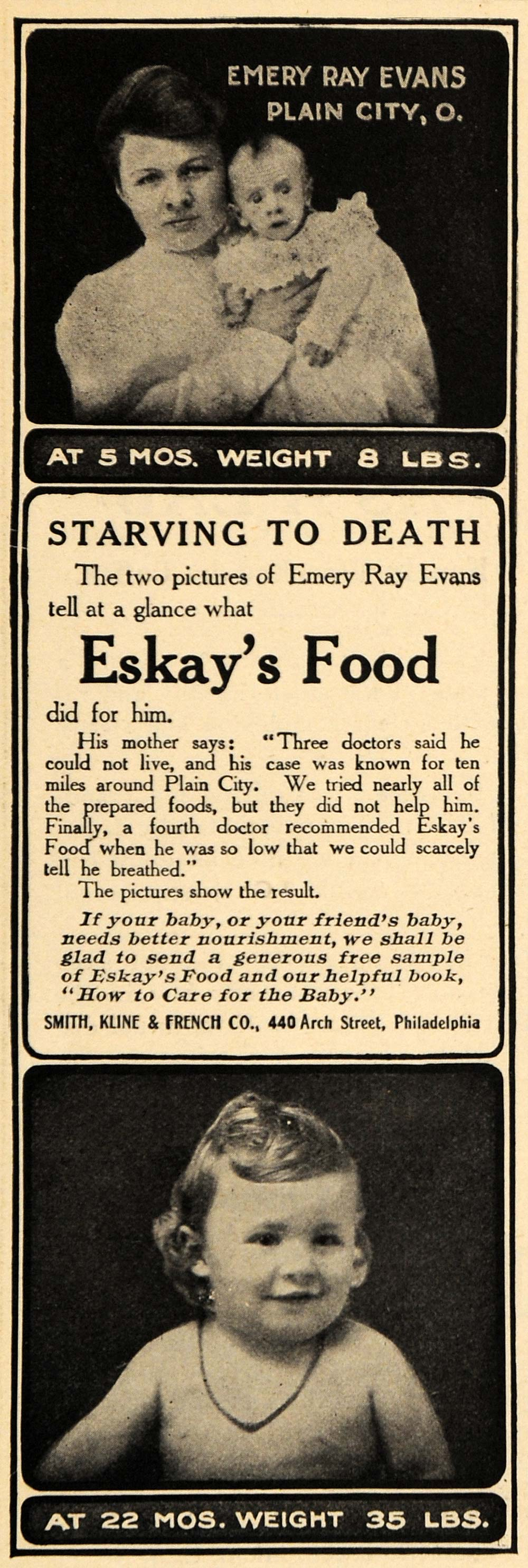 1908 Ad Emery Ray Evans Plain City Eskays Food Baby - ORIGINAL ADVERTISING RB1
