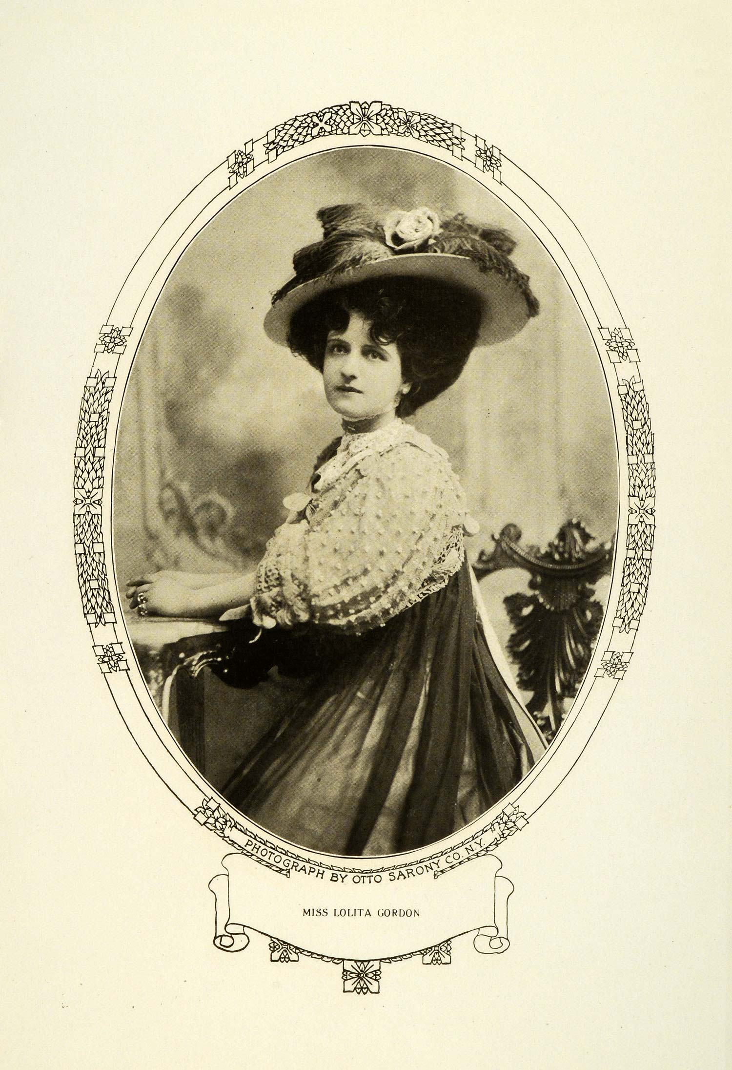 1908 Print Theater Lolita Gordon Portrait Art Nouveau Border Edwardian RB1