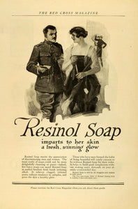 1918 Ad Resinol Soap Winning Glow World War I Soldier Complexion Beauty RCM1