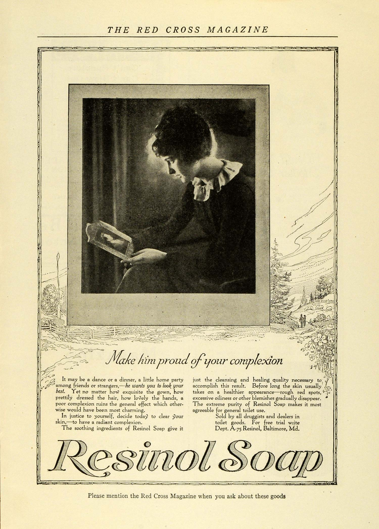 1919 Ad Resinol Soap Women Make Him Proud of Your Complexion Face Druggists RCM1