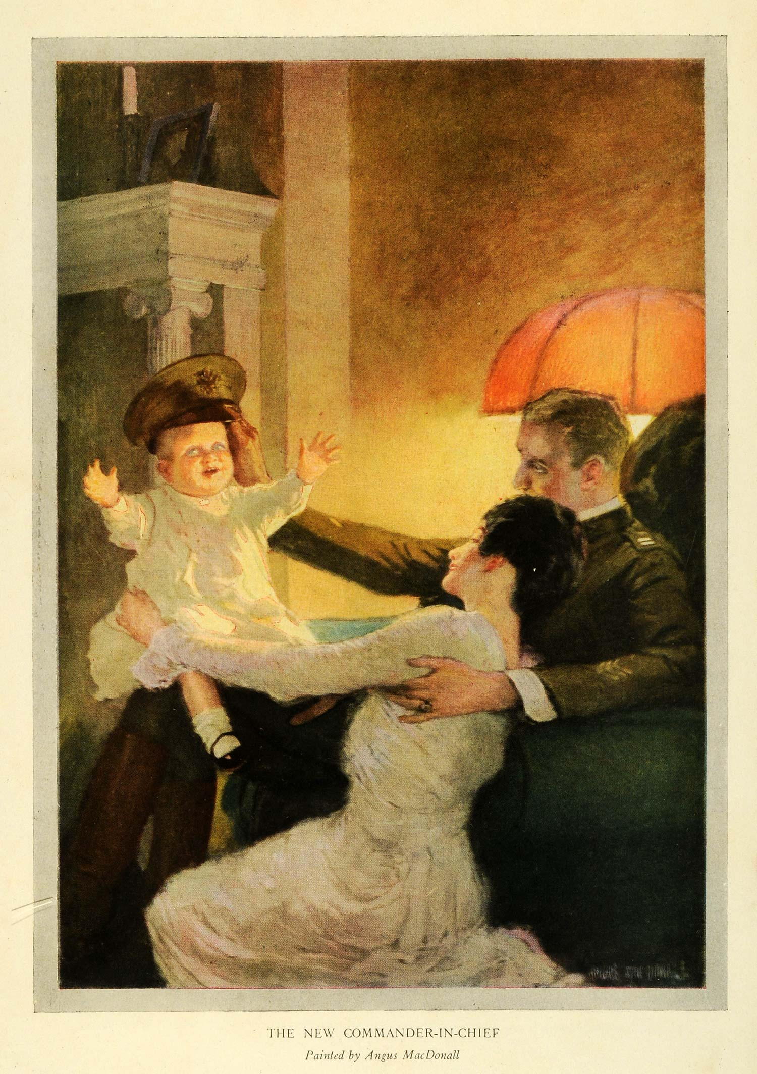 1919 Print Agnus MacDonall Painting New Commander In Chief Baby Military RCM1