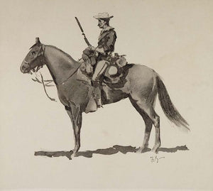 1902 Print Frederic Remington Art Army Soldier Uniform Horse American Old West