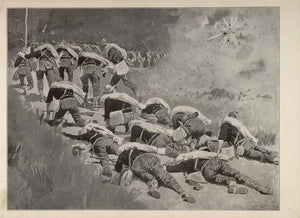 1902 Print Frederic Remington Art U. S. Army Soldiers Marching Attack Ambush