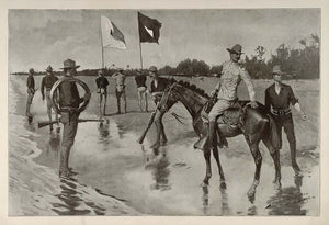 1902 Print Remington Art Army Soldiers Officer Flag Telegraph Line American West
