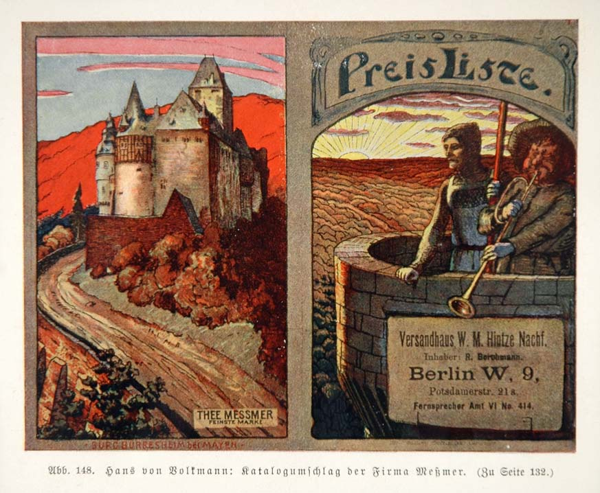 1903 Hans von Volkmann Castle Tower Thee Messmer Print - ORIGINAL REM