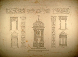1841 Engraving Architecture Tabernacle Milan Cathedral - ORIGINAL REP2