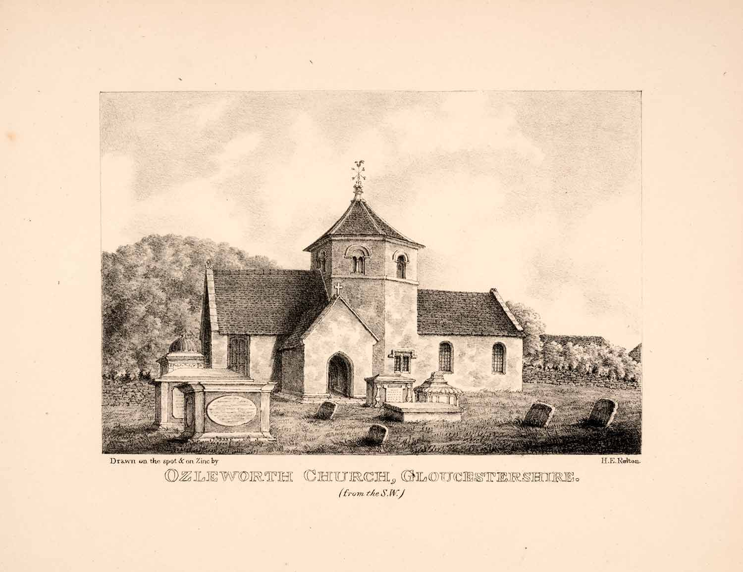 1843 Zinc Lithograph Ozleworth Church Mayo Relton Norman Cemetery England RES1