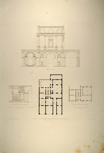 1860 Engraving Renaissance House Floor Plan Stairs Rome - ORIGINAL RM1