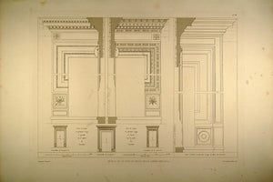 1860 Engraving Architecture Cancellaria Palace Carving - ORIGINAL RM1
