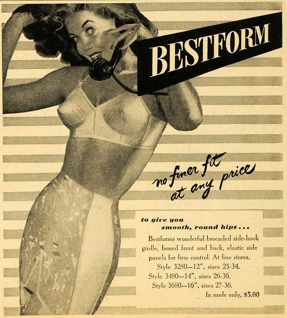 1949 Ad Bestform Girdle Women Undergarment Lingerie Side Hook Elastic Panels RO1