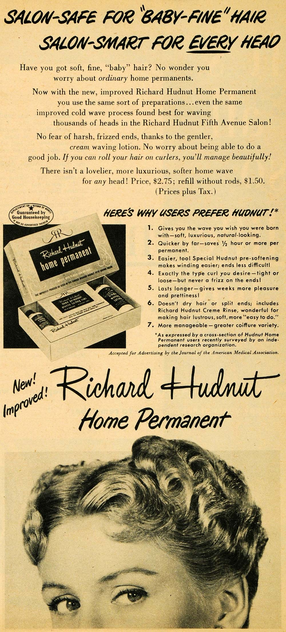 1949 Ad Richard Hudnut Home Permanent Hair Product Wave Solution Creme Rinse RO2