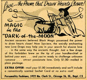 1949 Ad Love Drops Dark-of-the-Moon Potion Sachet Scented Personality RO3