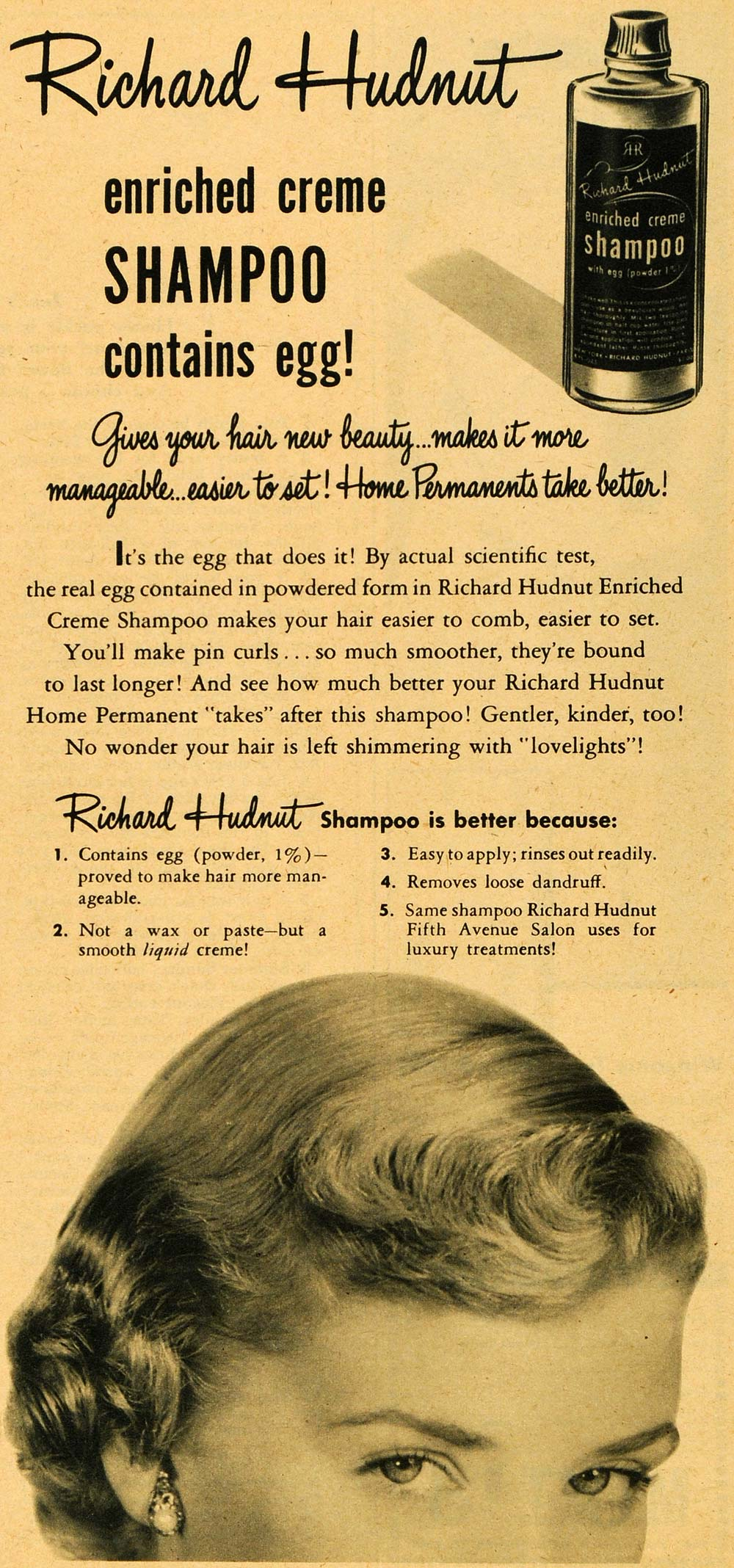 1949 Ad Richard Hudnut Creme Shampoo Powdered Egg Hair Product Salon Liquid RO3