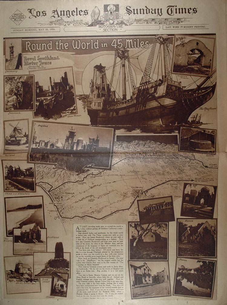 1924 World Tour Southern California Map Aileen Riggin - ORIGINAL RTO1