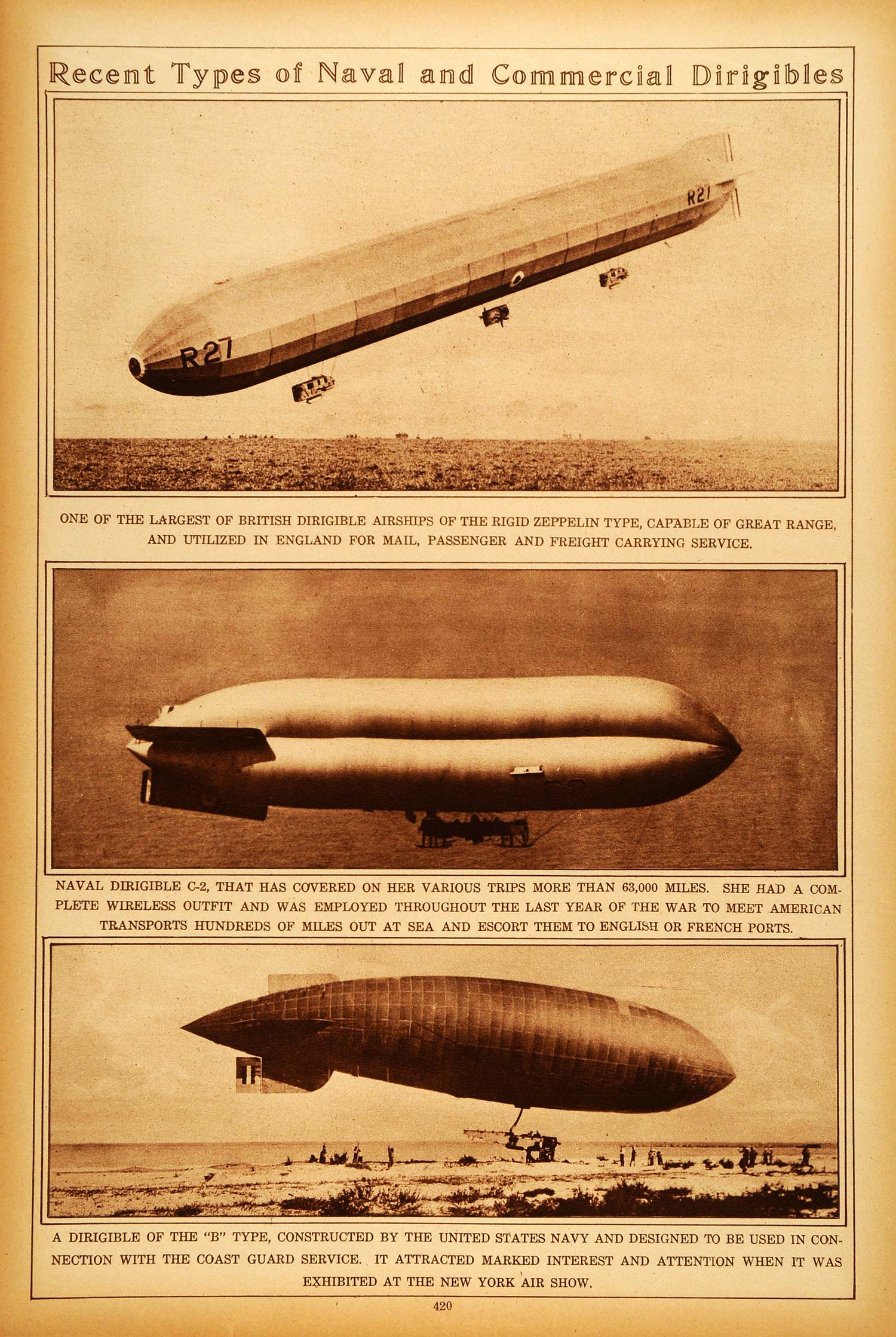1922 Rotogravure British Dirigible Airship Zeppelin U.S. Navy Airship C-2 B-Type
