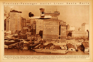 1922 Rotogravure Airplane Santa Maria Seaplane New York City Skyline Buildings
