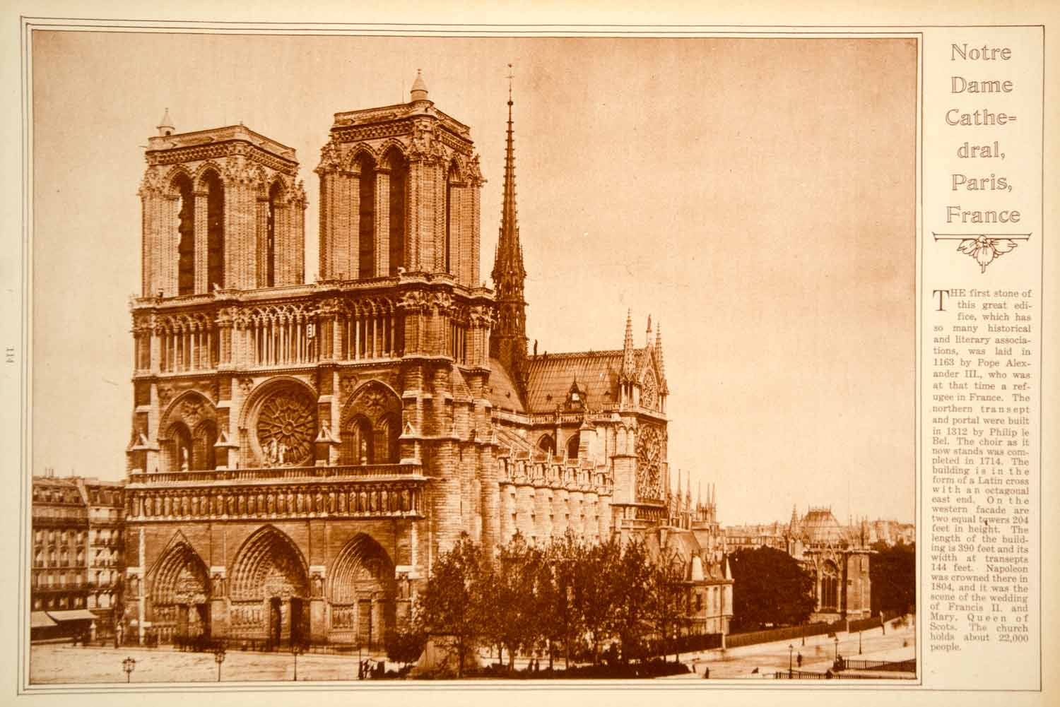 1923 Rotogravure Notre Dame Cathedral Paris France Gothic Architecture Church