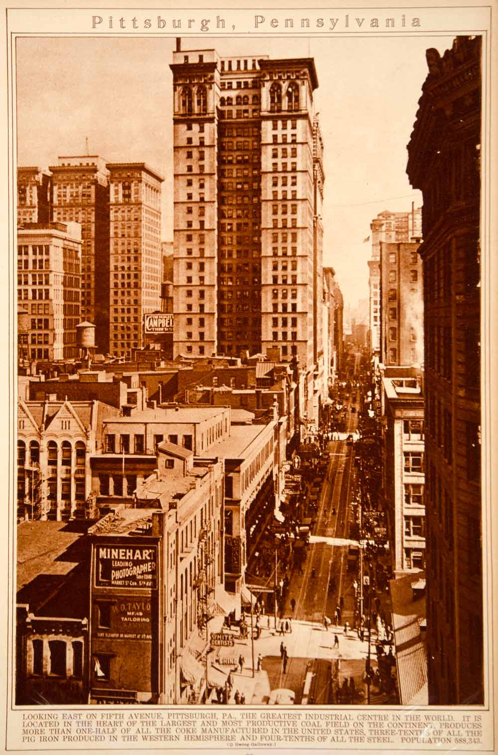 1923 Rotogravure Pittsburgh Pennsylvania Fifth Avenue Cityscape Historic View