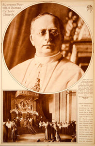1923 Rotogravure Pope Pius XI Portrait Pontiff Roman Catholic Church Investiture