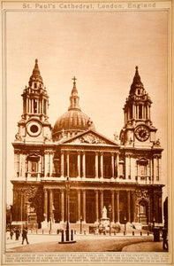 1923 Rotogravure St Paul's Cathedral London Christopher Wren Architecture Church