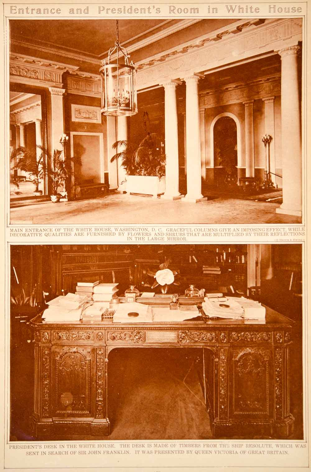 Remarkable 1923 Rotogravure White House Entrance Hall Resolute Desk Oval Office Historic Download Free Architecture Designs Itiscsunscenecom