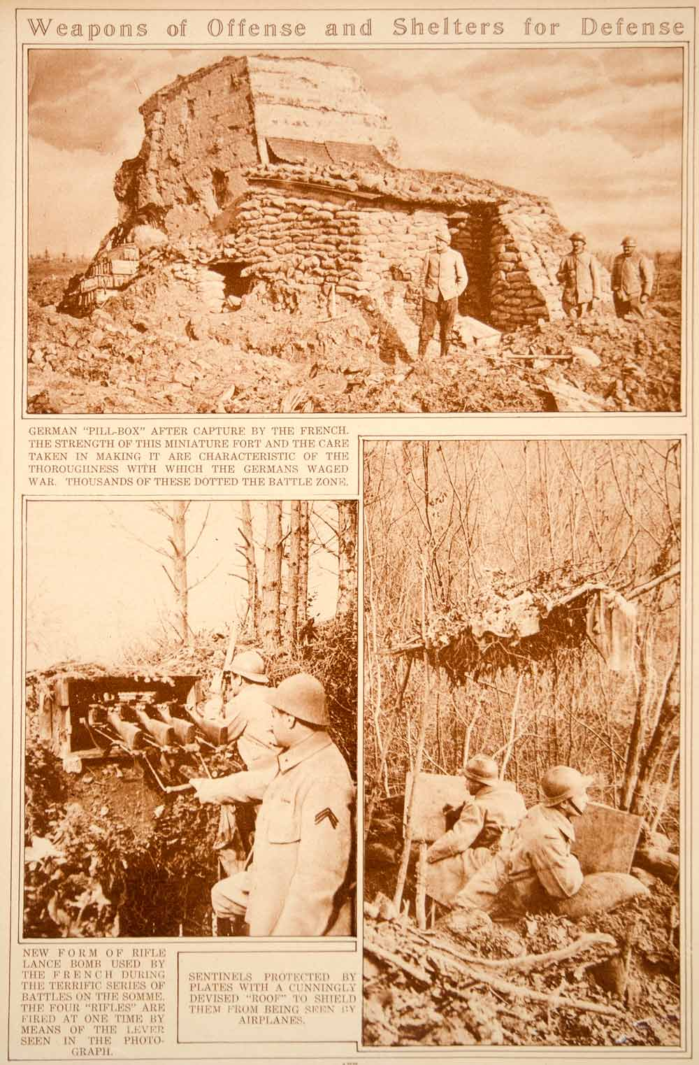 1923 Rotogravure WWI German Pillbox French Rifle Lance Weapons Military Historic