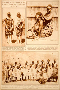 1923 Rotogravure Swaziland Royalty Warriors Weapons Masai Queens Costume Ethnic